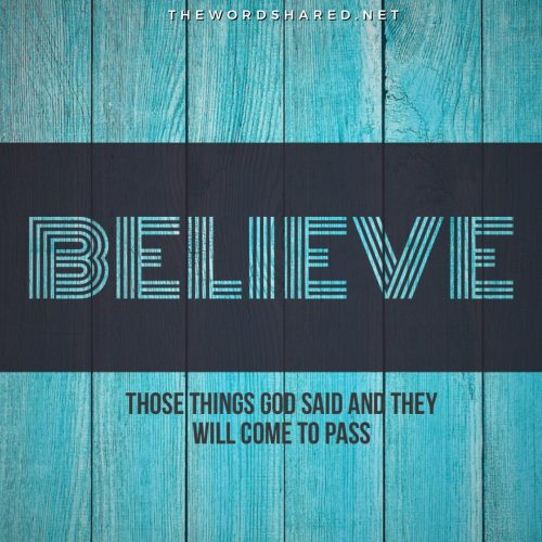 Believe those things God said and they will come to pass.